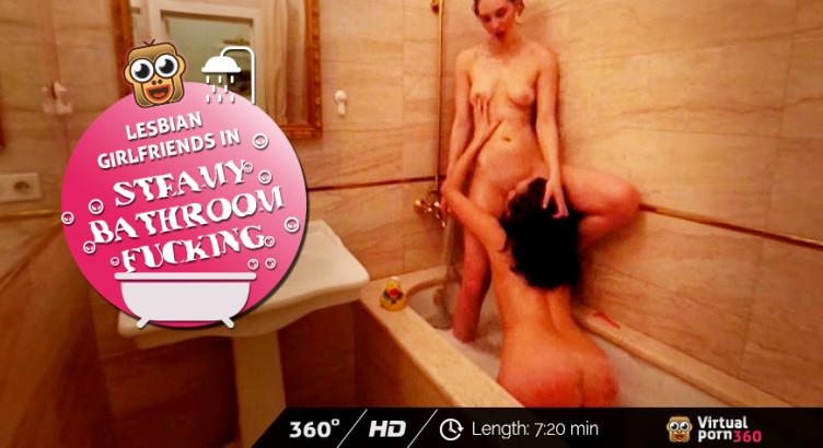 Lesbian girlfriends in steamy bathroom fucking