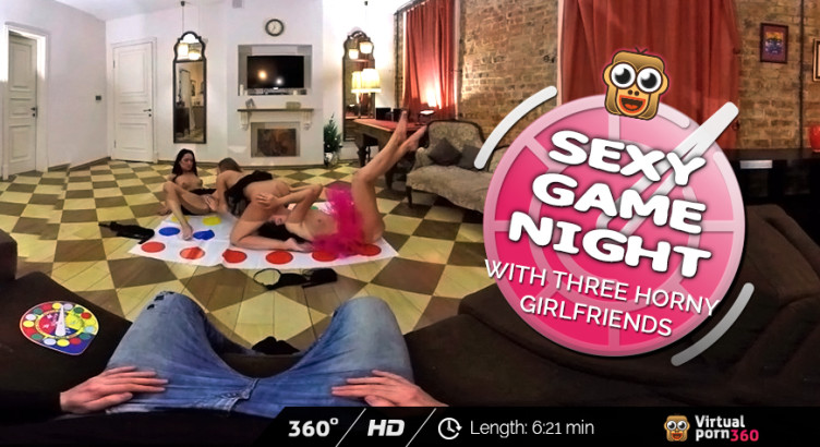Sexy game night with three horny girlfriends